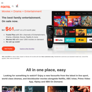 Sign Up to Foxtel Now via Telstra TV App, Get Free 24-Month