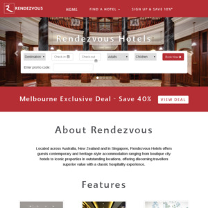 Rendezvous Hotel Melbourne 40% off 25 March to 27 September (Typical
