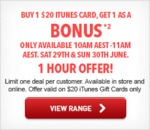 Buy 1 Get 1 Free $20 iTunes Cards 10-11am AEST This Sat & Sun Online & In-Store @ HN (1 Hr Only)