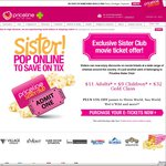 Priceline Sister Club - $11 Adult, $9 Children, $32 Gold Class Movie Tickets to Event Cinemas (Free Membership Req.)