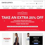 Take an Extra 25% off Fashion, Shoes, and Accs at Davidjones.com.au - Online Only Today Only
