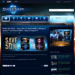 Save 50% on StarCraft® II: Wings of Liberty™ and StarCraft® II: Heart of Swarm™ - $12.47 Each @ Battle.net