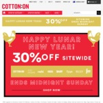 30% off Site Wide on Full Price Items @ Cotton On (Includes - Rubi, Kids, Typo, Body, etc)