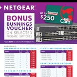 Bonus Bunnings Giftcard ($10 - $250) with Select NetGear Prosafe Switch Purchases from Select Retailers until Jun 30