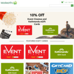 10% off Kathmandu Gift Cards @ Woolworths Gift Card Store