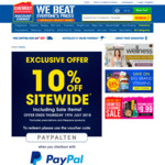 10% off Sitewide (exc. Prescriptions + Lifespace) + Shipping (Free Shipping over $50) @ Chemist Warehouse