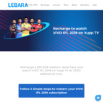 Recharge $10 3GB Data Pack and Watch IPL on Yupp TV Free (Normally $22) @ Lebara