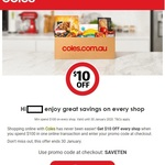 Coles $10 off Every $100 Spent on Online Orders