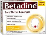 Betadine Sore Throat Lozenges - Relieves Sore Throat Discomfort 36 Pack $5.99 + Delivery ($0 with Prime/ $39 Spend) @ Amazon AU