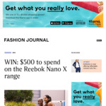 Win $500 Worth of Reebok Nano X Range Products from Fashion Journal