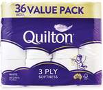 Quilton Toilet Paper 3ply 36pk (180 Sheets - 22c Per 100 Sheets) $13.99 @ ALDI