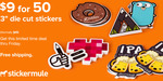 "$11.57 for 50 Custom 3"" × 3"" Die Cut Stickers @ Sticker Mule (Normally $95)"