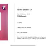 Telstra $30 SIM Kit for $15 @ Coles