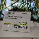 """Sony 75"""" KD 75X9000H for $2799.99 at Costco (Membership Required)"""