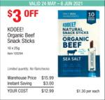 KOOEE! Organic Beef Snack Sticks 10x25g $12.99 ($3 off) @ Costco (Membership Required)