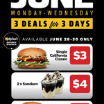 [QLD, NSW, SA, VIC] Daily June Deals $3- $5: Every Monday to Wednesday via MyCarl's App @ Carl's Jr
