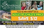 Featherdale Wildlife Park (Western Sydney) Adults at Child's Price Shop-a-Docket - $15.50