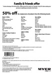 Myer Family & Friends Offer 03/07/2014 (50% off Original Price from Selected Brands)