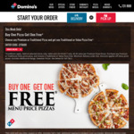 Buy 1 Pizza & Get 1 Free (Excludes Value & Premium Range) @ Domino's (Mega Week)
