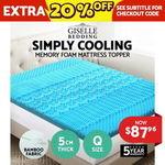 Cool Gel Memory Foam Mattress Topper Bamboo Fabric Cover 5 Zone 5CM Queen - $87.96 Shipped @ Oz Plaza eBay