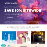10% off Sitewide (Some Exclusions) Free Shipping Min Order $20 @ Adore Beauty