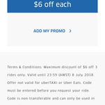 Uber 3 Rides $6 off Each