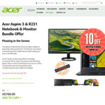 Acer Aspire 3 Notebook + R231 Monitor $691.20 (Was $768) + Free Shipping @ Acer Australia