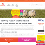Skymuster NBN Satellite Internet - Double Peak Data First 6 Months (Now 130 GB Peak/100GB off Peak) - $50 @ Harbour ISP