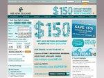 $150 off Any Return Flight - Air New Zealand (24 Hours)