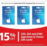 15% off iTunes Gift Cards (Excludes $20) @ ALDI
