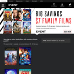 Family Movie Tickets $7 + $1.50 Online Booking (Opt) (23-29 Jan) @ Event Cinemas (Excl VIC)