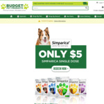 Simparica Flea/Tick Treatment for Dogs $5 + Free Shipping @ Budget Pet Products