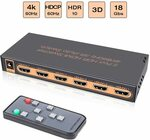 4K/60Hz HDMI Switch 5in/1out (HDMI 2.0, HDCP 2.2, UHD, CEC, HDR, Full HD/3D) $59.99 Delivered @ FiveHome Amazon AU