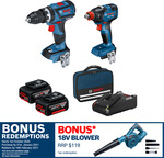 Bosch Blue 18V Brushless 2 Piece Combo Kit with 2x 4.0ah Li-Ion Batteries $399 with Bonus 18V Blower C&C or + Delivery@ Bunnings