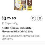 Nestle Nesquik Flavoured Milk 500g $0.25 in Select Stores @ Coles