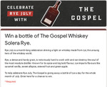 Win 1 of 31 Bottles of The Gospel Whiskey Solera Rye Worth $80 from The Gospel Whiskey