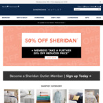 50% off Sitewide, Extra 20% off for Members @ Sheridan Outlet