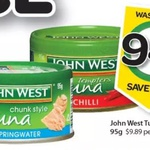 HALF PRICE John West Tuna Tempters 95g $0.94 at Woolworths (Save $1.05) Starts 25/6