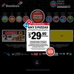 Domino's - Any Pizza $6.95 Each Pickup (Online) + Other Codes