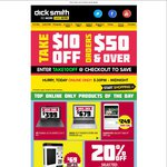 $10 off All Orders over $50 @ Dick Smith