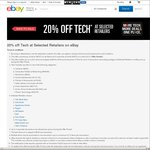 20% off Tech at Selected Retailers @ eBay