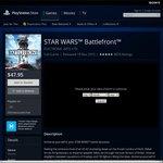 Star Wars Battlefront $47.95 on PlayStation Store