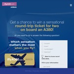 Win Round-Trip Flight Tickets for 2 to a Destination of Choice Worth $7,445 from Airbus
