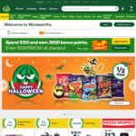 2000/4000 Bonus Points When Spend $50+/ $100+ & Pickup @Woolworths Online