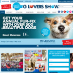 [Vic] 50% off for Sunday Dog Lovers Show, Melbourne: Adults $13.75, Children $6, Pensioners $8.50, Family $38
