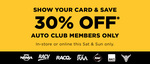 30% off This Weekend for Auto Club Members @ Repco