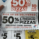 50% off Premium/Traditional Pizzas (Pick up or Delivery) @ Domino's