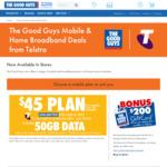 Telstra 12 Month Plans (Ultd Talk/Text) - $45 Per Month 50GB | $65 Per Month 60GB | Plus $200 / $400 Gift Card @ The Good Guys