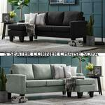 $299 Three Seater Linen Fabric Corner Sofa Chaise Couch Lounge Suit Set Ottoman + Delivery @ SALESBAY.com.au