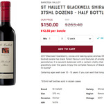 St Hallett Blackwell Shiraz 2017 375ml 12pk $150 Delivered ($12.50/bt) @ Cellar One [Free Membership Required]